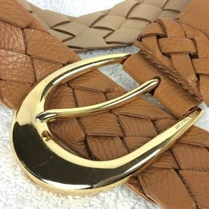 Michael Kors Leather Belt Wide Braided S/28 Gold